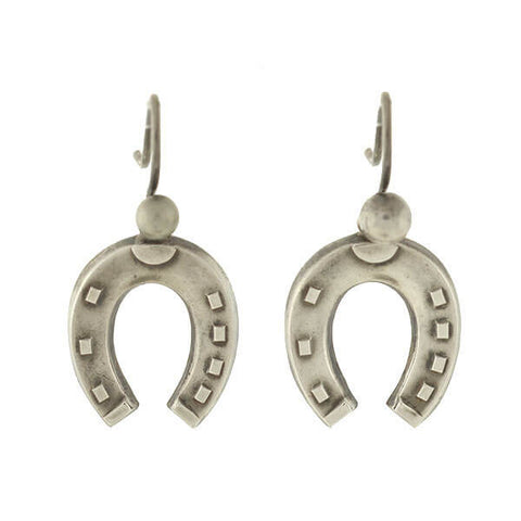 Victorian English Silver Lucky Horseshoe Earrings