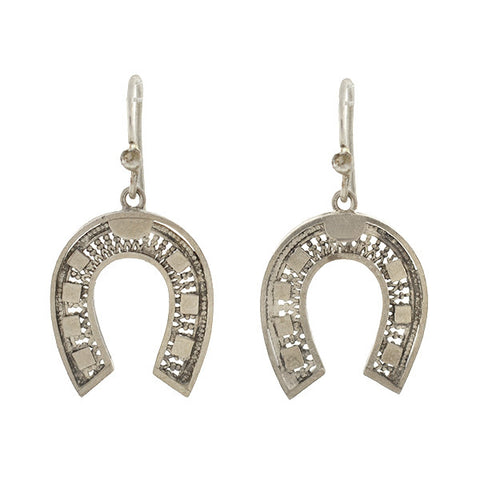 Victorian Sterling Silver Lucky Horseshoe Earrings