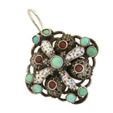 Arts and Crafts Hungarian Silver Turquoise, Garnet + Enameled Earrings