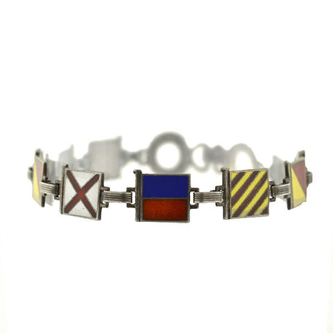 "Retro Sterling Enameled ""I Love You"" Nautical Signal Flags Bracelet"