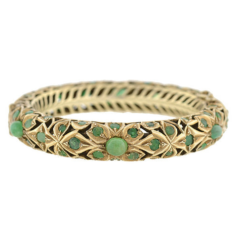 Estate Indian Sterling Gilt & Emerald Bangle Bracelet