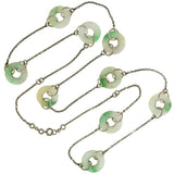 Art Deco Sterling Jade Ring Link Chain Necklace