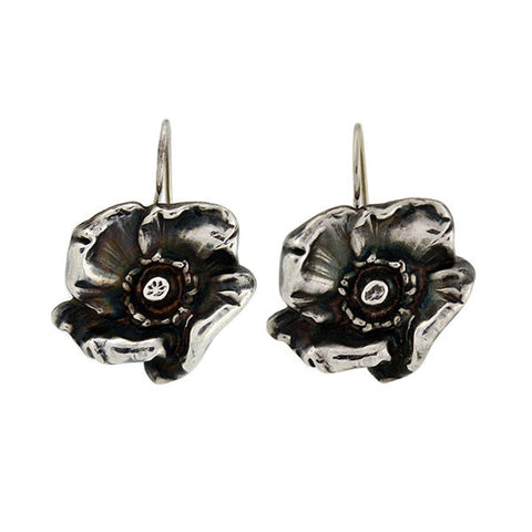 KERR Art Nouveau Sterling Poppy Flower Earring & Pin/Pendant Set