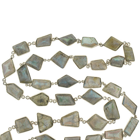 Estate Long Sterling & Labradorite Necklace 42""