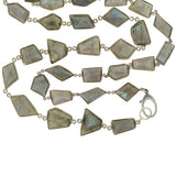 Estate Long Sterling & Labradorite Necklace 42