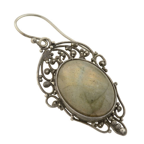 Late Art Deco Sterling Silver Labradorite Wirework Earrings