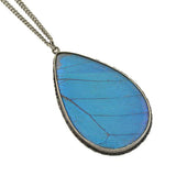Late Art Deco Sterling Real Butterfly Wing Pendant Necklace