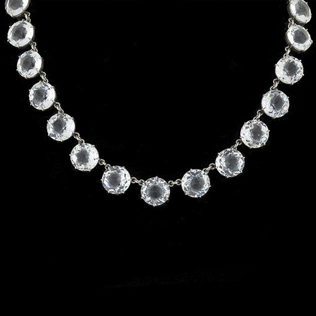 Art Deco Sterling & Large Faceted Crystal Necklace