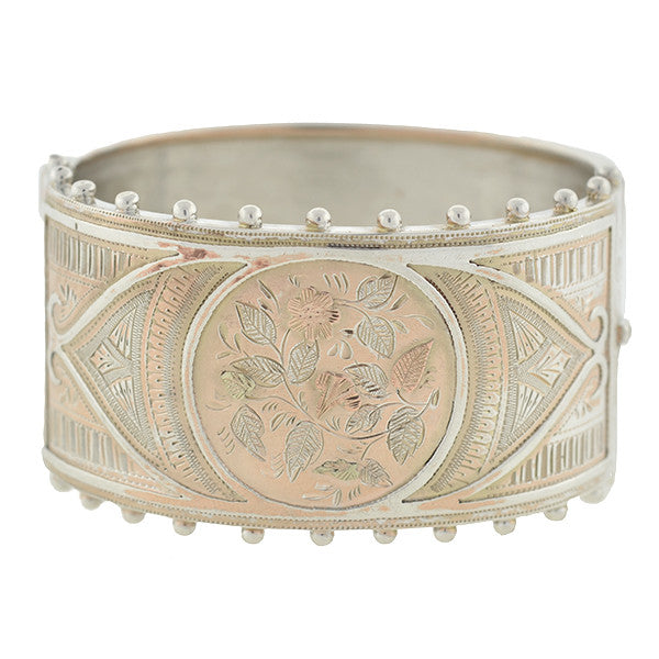 Victorian Sterling Silver Mixed Metals Bangle Bracelet