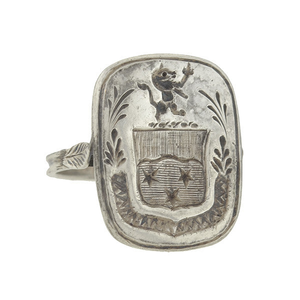 Victorian Sterling Silver Family Crest/Coat of Arms Seal Signet Ring
