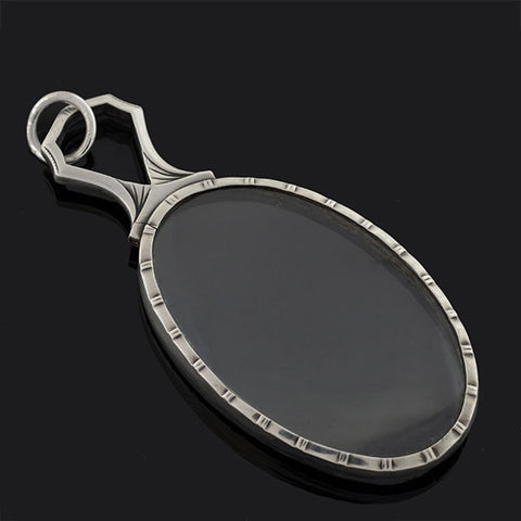Late Victorian Large Sterling Magnifying Glass Pendant