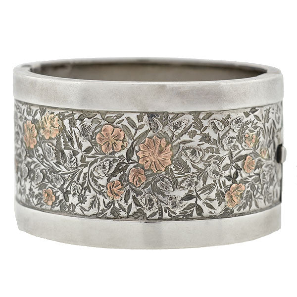 Victorian Silver Mixed Metals Floral Motif Bangle Bracelet