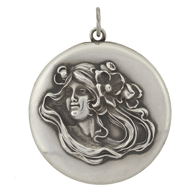 Art Nouveau Large Sterling Silver Locket with Woman