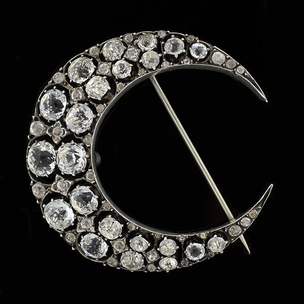 Victorian Large Silver & French Paste Crescent Pin