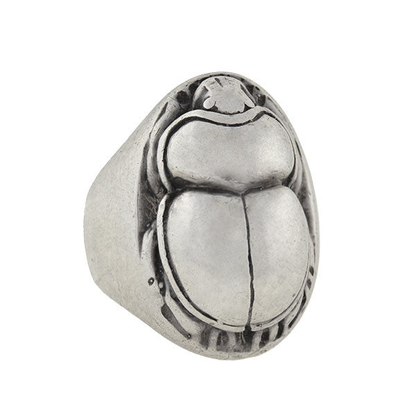 Vintage Sterling Silver Large Scarab Beetle Ring