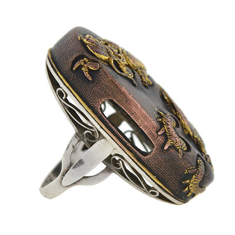 Victorian Large Mixed Metals Shakudo Dragon Ring