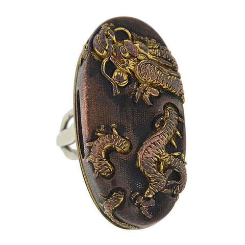 Victorian Large Silver & Mixed Metals Shakudo Dragon Ring