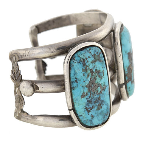Vintage Sterling & Turquoise American Indian Cuff Bracelet