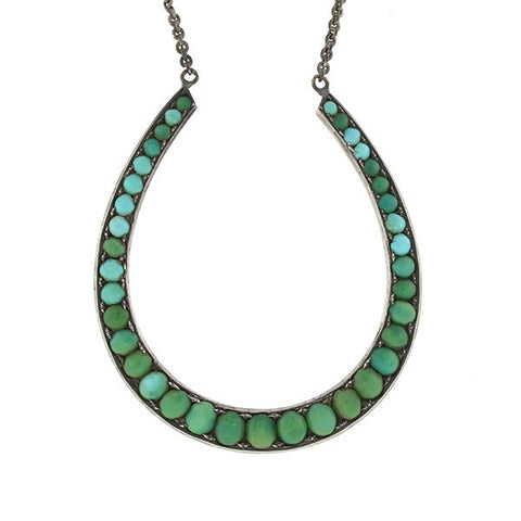 Victorian Large Sterling Turquoise Horseshoe Necklace