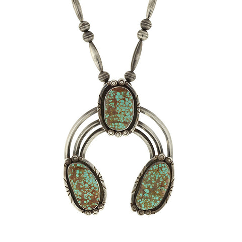 Vintage Navajo Huge Sterling & Turquoise Naja Necklace