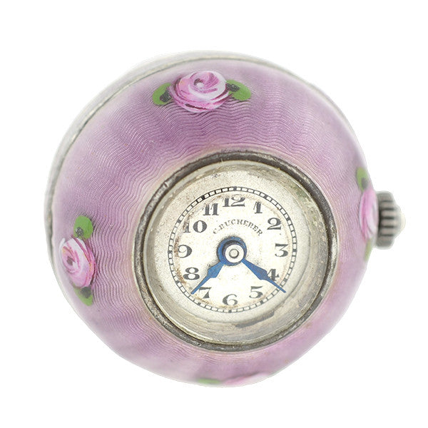 Edwardian Sterling Amp Lavender Guilloch 233 Enamel Watch Fob