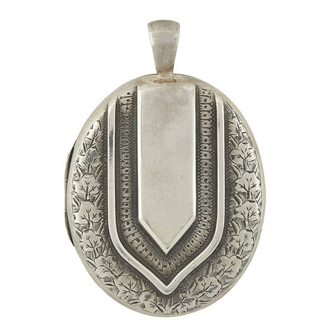 Victorian Sterling Silver Locket w/ Etched Floral Motif