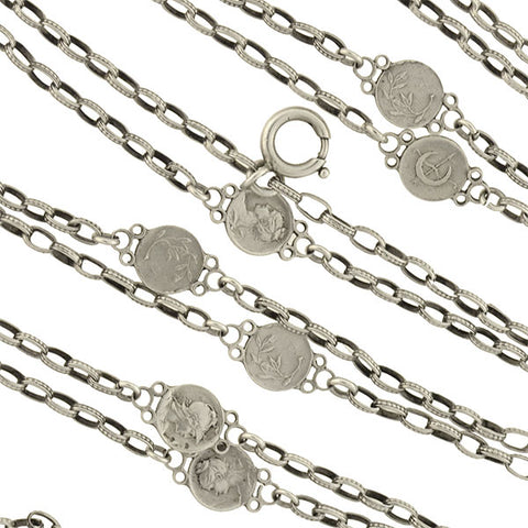 Victorian Sterling Silver Roman Coin Chain Necklace 56""