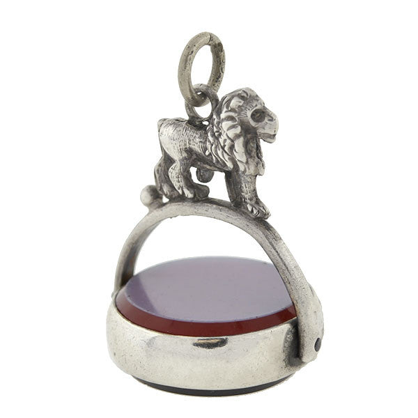 Victorian English Sterling & Agate Lion Spinner Fob