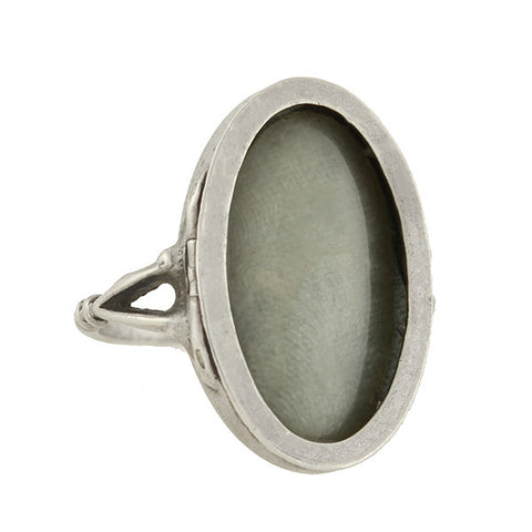 Art Nouveau English Sterling Silver Oval Locket Ring