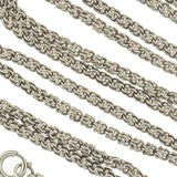 Victorian Style Long Sterling Beaded Link Chain 48