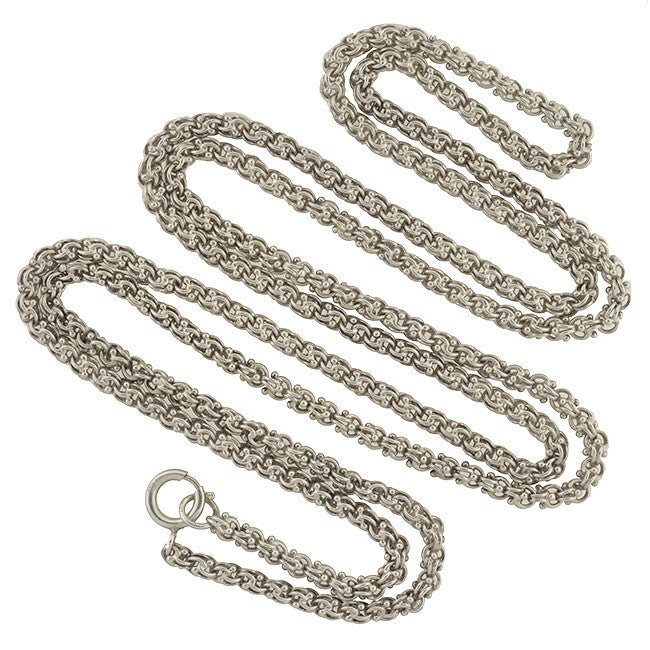 Victorian Style Long Sterling Beaded Link Chain 48""