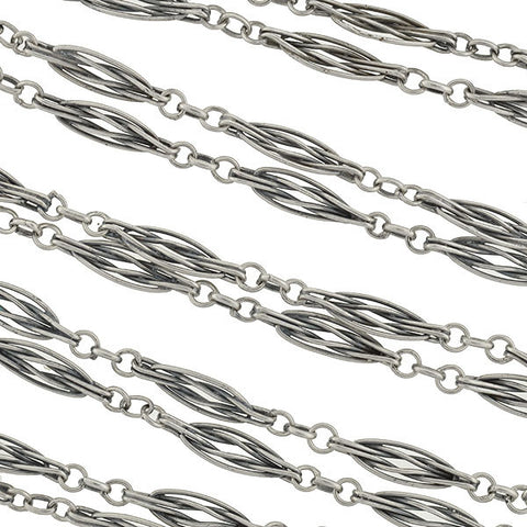 Victorian Long Silver French Wirework Muff Chain 56""