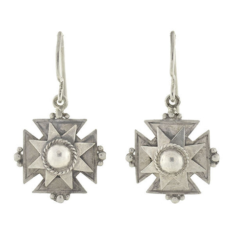 Victorian Sterling Silver Maltese Cross Earrings