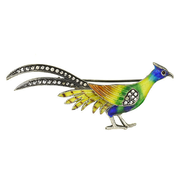 Art Deco German Sterling & Marcasite Enameled Pheasant Pin