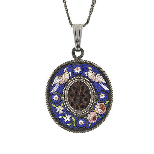 Victorian Sterling Silver Micro Mosaic Hair Locket Necklace