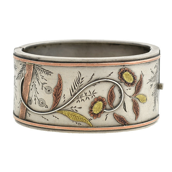 Victorian Sterling & 9kt Mixed Metals Floral Bangle Bracelet