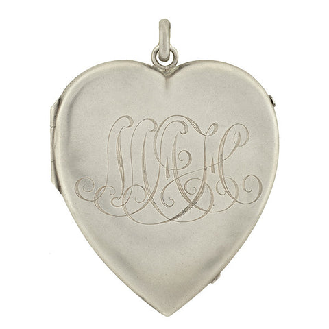 Victorian Large Sterling Silver Heart Locket