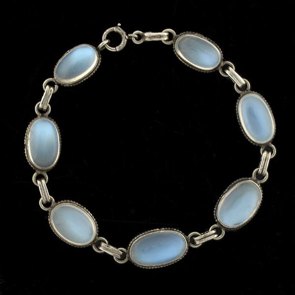 Art Deco Sterling Moonstone Link Bracelet
