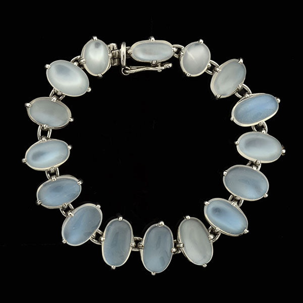 Retro Sterling Silver Moonstone Bracelet
