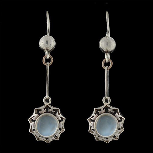 Art Deco Sterling Moonstone Filigree Drop Earrings