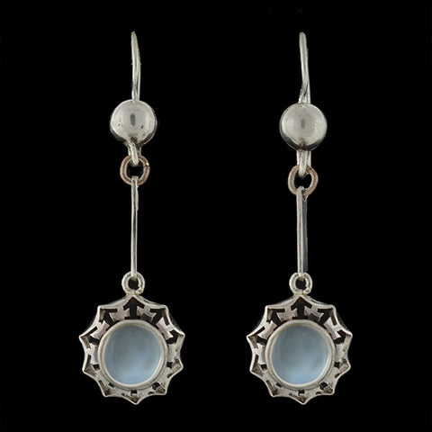 Retro 14kt & Platinum Diamond & Blue Zircon Drop Earrings