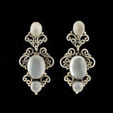 Vintage Sterling Silver & Moonstone Filigree Earrings