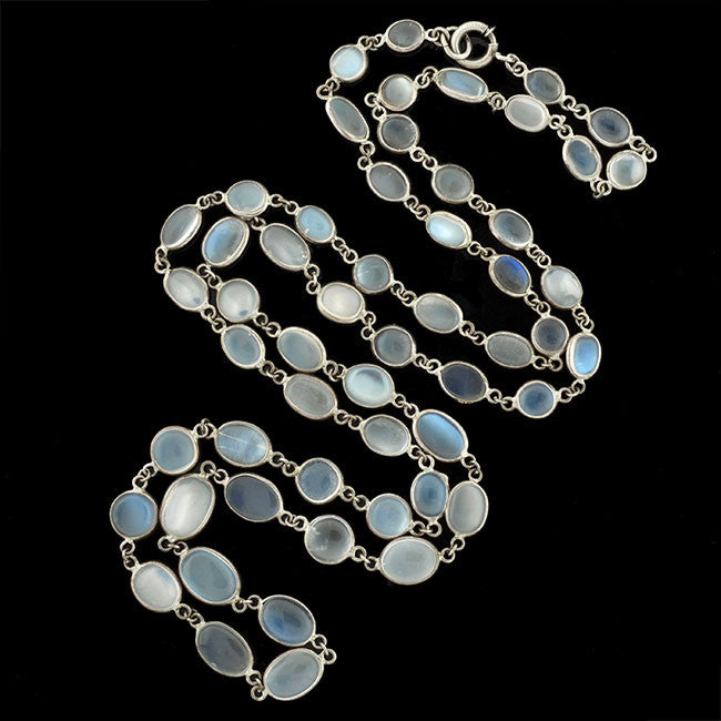 Art Deco Sterling Moonstone Necklace 30""