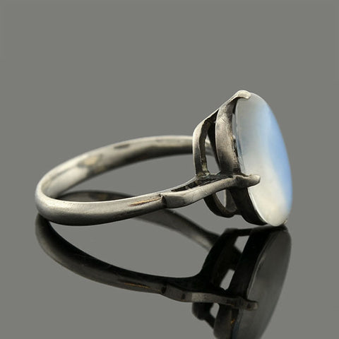 Art Deco Sterling Silver & Oval Moonstone Ring