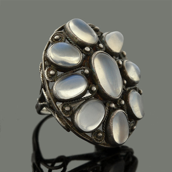 Retro Hand Wrought Sterling Silver & Moonstone Cluster Ring
