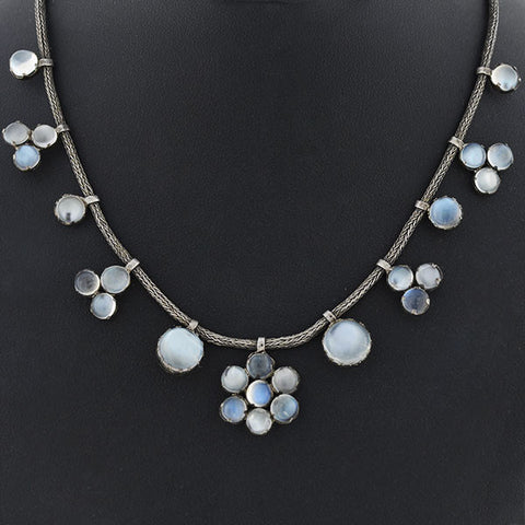 Victorian Sterling & Moonstone Cabochon Cluster Necklace