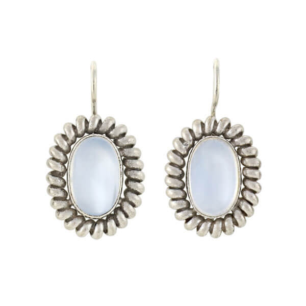Retro Sterling Silver Moonstone Earrings