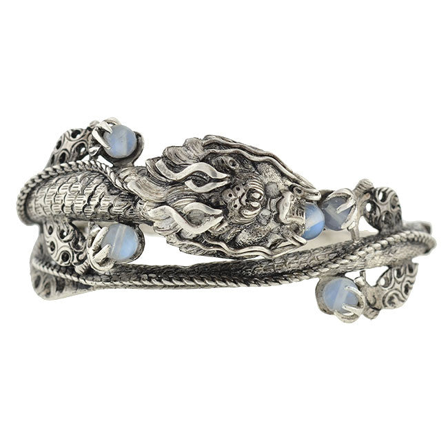 Vintage Chinese Sterling & Moonstone Serpent Dragon Bracelet