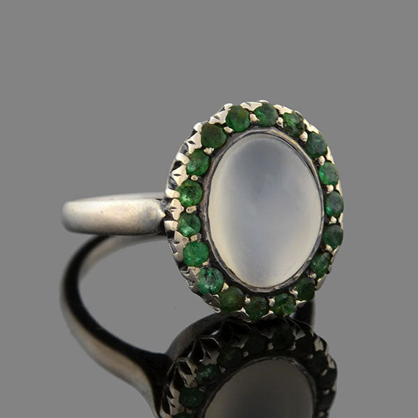 Retro Sterling Silver Moonstone Emerald Cluster Ring