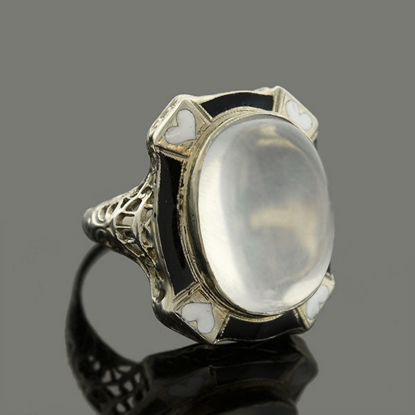Art Deco 14kt Moonstone & Enamel Hearts Filigree Ring